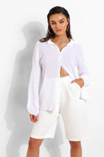 Ivory white White Textured Open Back Shirt