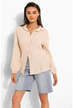 Sand beige Textured Open Back Shirt