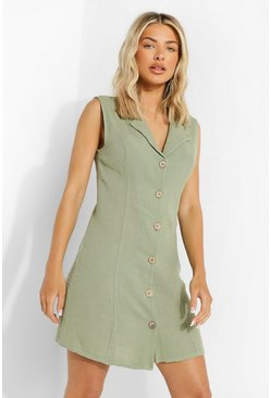 Sage green Textured Button Front Shirt Dress
