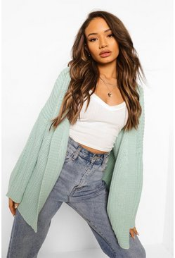 Mint green Fisherman Rib Oversized Boxy Cardigan