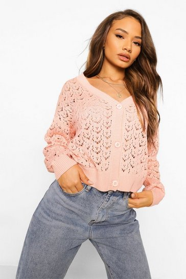Pink V Neck Knitted Pointelle Cardigan