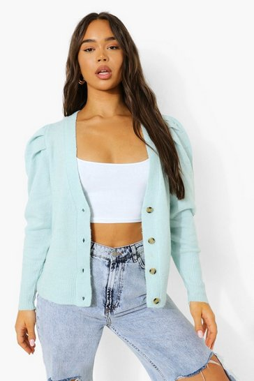 Mint green V Neck Puff Sleeve Cardigan