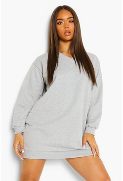 Grey marl grey V Neck Sweat Dress