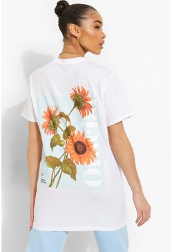 White Official Flower Print T-shirt