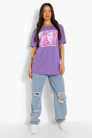 Lilac purple Purple Ru Paul License Print Oversized T-Shirt