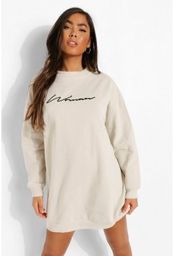 Woman Embroidered Sweat Dress, Stone beige