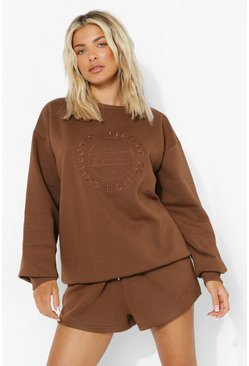Chocolate brown Tonal Embroidered Short Tracksuit