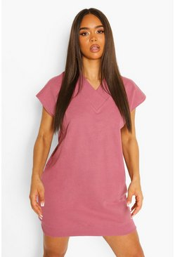 Dusky pink pink V Neck Sleeveless Sweat Dress
