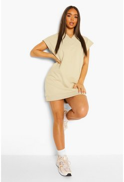 Sand beige V Neck Sleeveless Sweat Dress