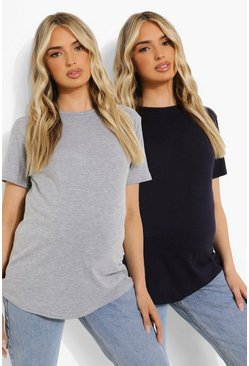 Grey marl grey Maternity 2 Pack Crew Neck T-shirt