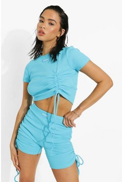 Blue Premium Rib Side Ruched Cycling Short