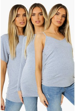 Grey marl grey Maternity Top Essentials Pack