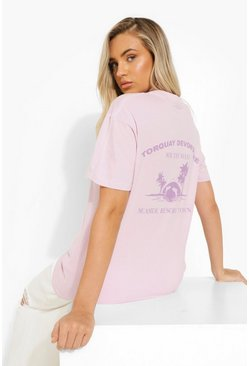 Lilac purple Torquay Back Print T-shirt