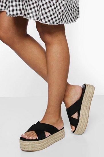 Black Wide Fit Chunky Crossover Flatform