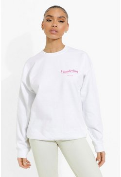 White Wanderlust Slogan Sweat