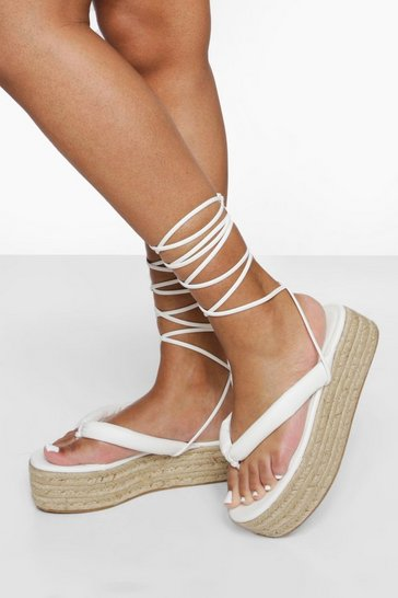 White Wide Fit Chunky Toe Post Flatform