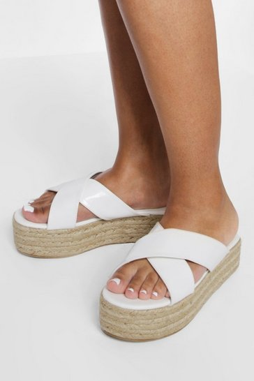 White Wide Fit Chunky Crossover Flatform