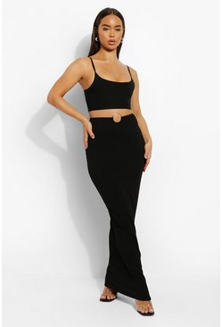 Black O-ring V Front Maxi Skirt
