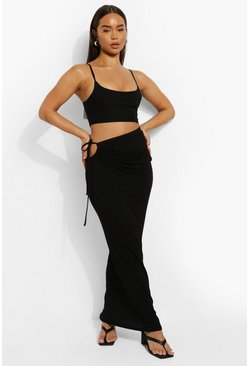 Black Drawstring Detail Maxi Skirt