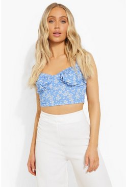 Blue Cup Detail Crop Top