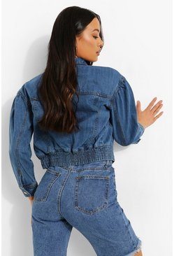 Mid blue blue Cropped Denim Bomber Jacket