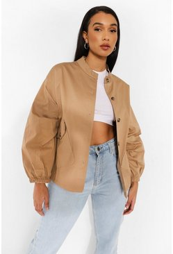 Camel beige Twill Pocket Detail Bomber Jacket