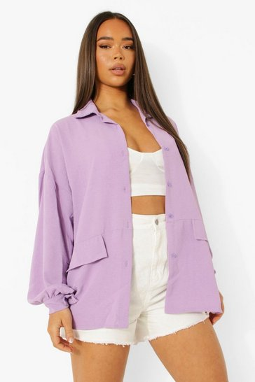 Lilac purple Oversized Linen Look Shacket