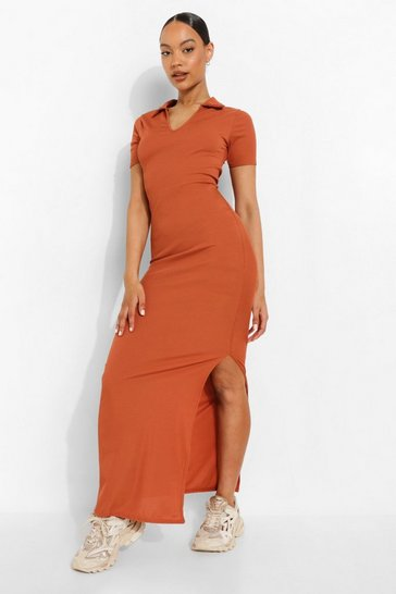 Rust orange Tonal Rib Open Collar Maxi Dress