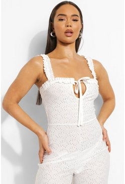 White Jersey Broderie Tie Bust Jumpsuit