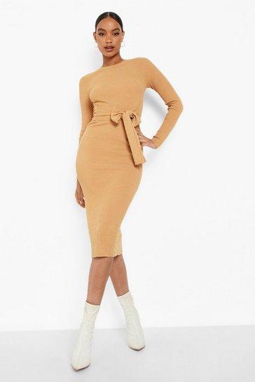 Camel beige Fine Rib Knit Tie Front Midi Dress
