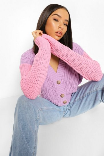 Pink Soft Knit Colour Block Cardigan