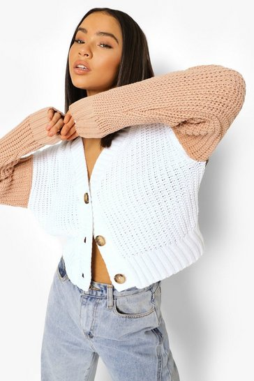 Stone beige Soft Knit Colour Block Cardigan
