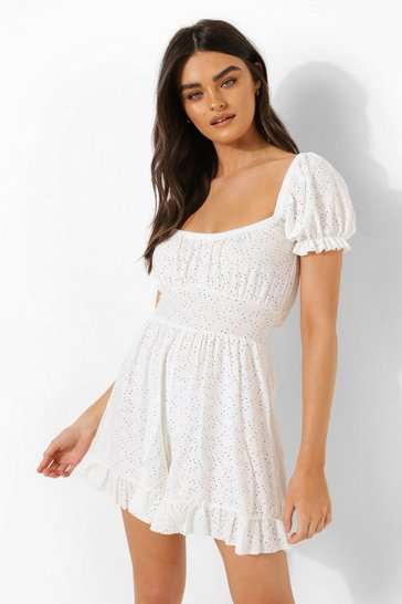 White Jersey Broderie Puff Sleeve Playsuit