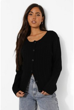 Black Cable Knit Crop Cardigan