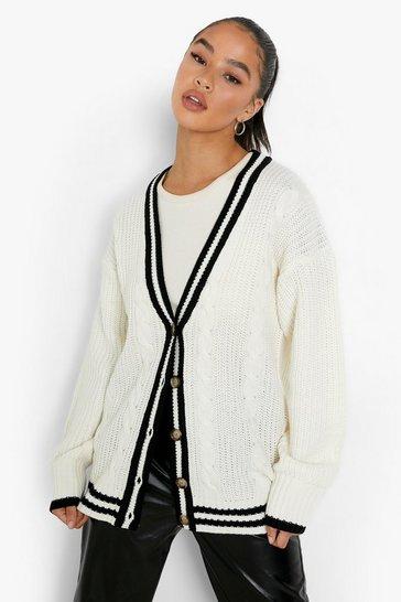 Cream white Cable Varsity Stripe Cardigan