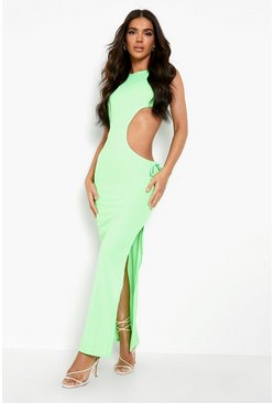 Lime green Tonal Rib Ruched Cut Out Maxi Dress