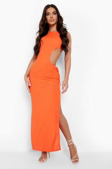 Orange Tonal Rib Ruched Cut Out Maxi Dress