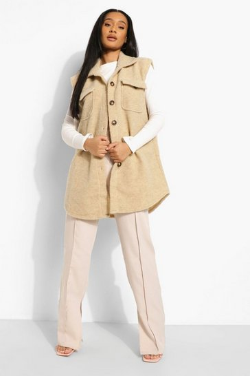 Stone beige Sleeveless Wool Look Shacket