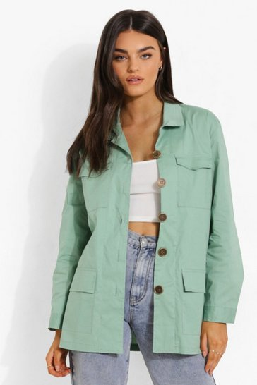 Mint green Linen Look Button Down Shacket