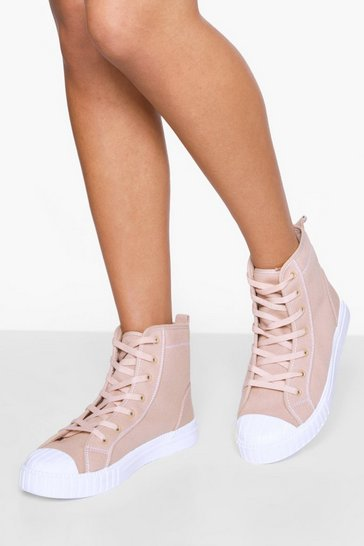 Nude Chunky Sole Canvas High Top Trainers