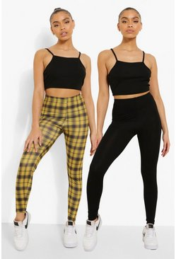 Lot de 2 leggings basique et à carreaux, Black noir
