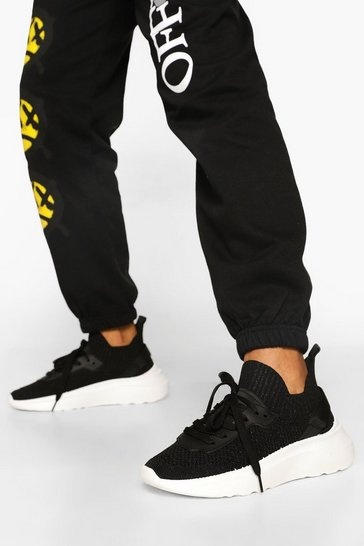 Black Lace Up Knitted Panel Detail Sports Trainers