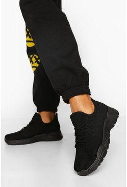 All Black Lace Up Knitted Sports Trainers