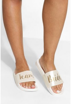 Cream white Team Bride Slogan Sliders