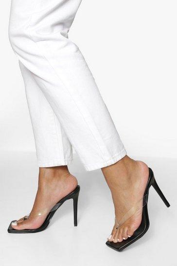 Black Clear Toe Post Detail Heels