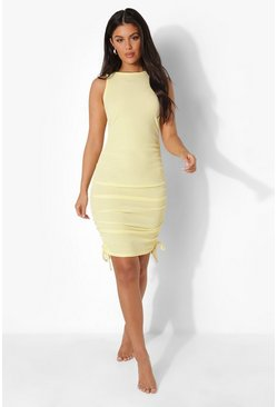 Lemon yellow Rib Racer Front Drawstring Side Beach Dress