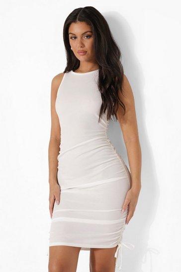 White Rib Racer Front Drawstring Side Beach Dress