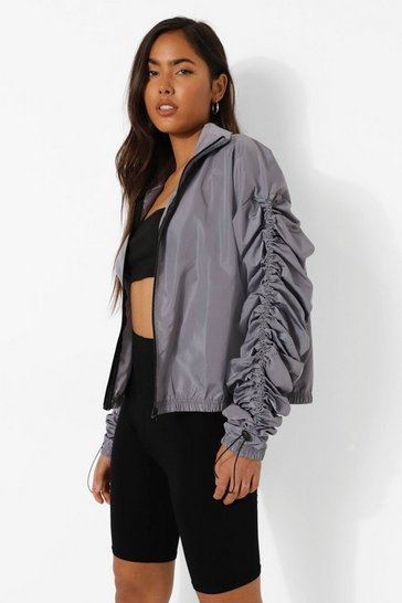 Grey Ruched Sleeve Detail Jacket