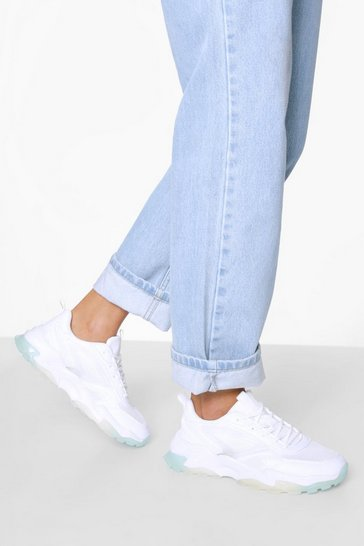White Contrast Clear Sole Chunky Trainer