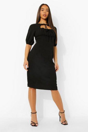 Black Linen Rouched Bust Tie Neck Midi Dress